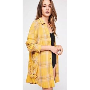 FREE PEOPLE Nordic Day Laceup Buttondown Plaid Top